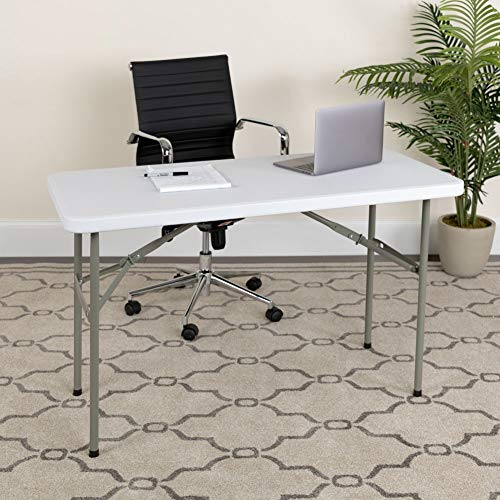Flash Furniture 4-Foot Granite White Plastic Folding Table