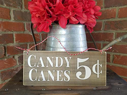 CELYCASY Cartel de bastón de Caramelo, decoración de bastón de Caramelo, Letrero rústico de bastón de Caramelo, decoración de día Festivo de Granja, Cartel de Madera de Navidad