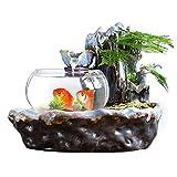 Fuente Agua Feng Shui Zen cubierta de sobremesa fuente de agua en cascada alta fuente de cerámica decorativa y el acuario de escritorio transparente for el escritorio de la tabla Ministerio del Interi