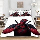 Juego de ropa de cama con impresión de SSIN, juego de ropa de cama 3D Deadpool –...