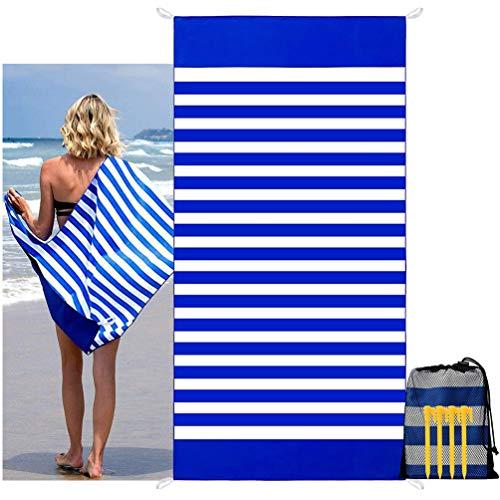 carinacoco Strandtuch Sandfrei 180X90CM, Strandhandtuch Mit Streifen Strandtuch Groß Strandlaken Schnelltrocknend Strand Tuch (Blau mit Weiß)