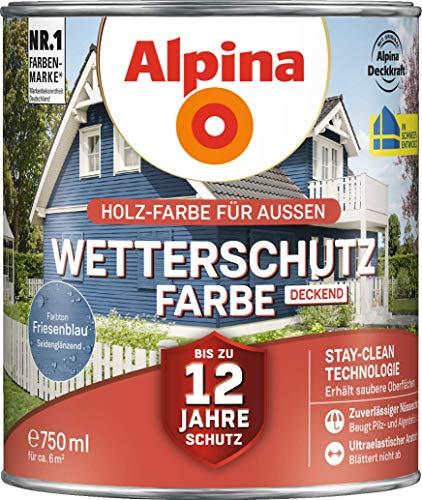 Alpina Wetterschutz-Farbe Deckend Seidenglänzend Friesenblau 0,75 L