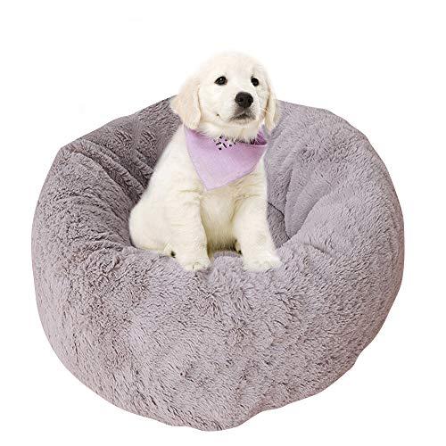 BVAGSS Weich Warm Langes Plüsch Haustier Bett Rund Sofa für Katzen Hund XH029 (L, Dark Grey)