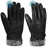 guanti moto invernali, sport guanti uomo invernali termici PU pelle guanti touchscreen