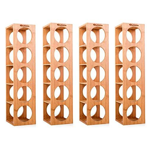 Quttin - Pack de 4 Botelleros apilables de bambú 5 cavidades, Talla única 53 x 13 x 13,5 cm. Estantes, Soportes de Madera con 5 baldas para Botellas de Vino. Estantería, Organizador de Bebidas Cocina