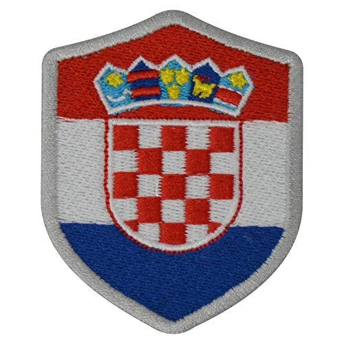 benobler FanShirts4u Aufnäher - Kroatien - Wappen - 7 x 5,6cm - Bestickt Flagge Patch Badge Fahne Croatia (Silberne Umrandung)