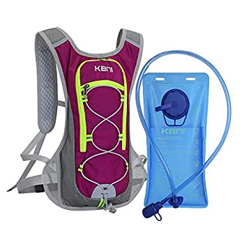 KBNI Hydration Pack with 2L Water Bladder for Women Men Kids - This Backpack Keeps You Cool and Great for Outdoor Sports of Running Hiking Climbing Skiing  Red
