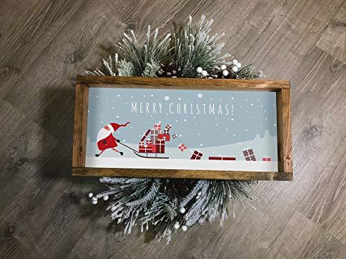 Ced454sy Kerstman Slee Vrolijk Kerstmis Teken Kerstmis Decor Tekenen Woonkamer Teken Kerstmis Houten Teken Boerderij Stijl Teken