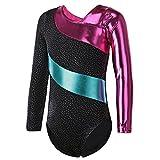 HUAANIUE Justaucorps de Gymnastique Danse Fille Leotard Combinaison Gym Esthétique Enfant ,Noir,7-8...