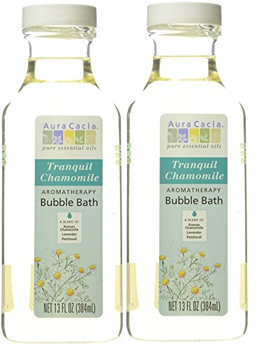 Aura Cacia Chamomile Aromatherapy Bubble Bath (Pack of 2) With Lavender and Patchouli, 13 fl. oz.