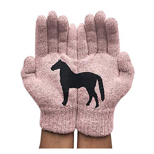 Pferdedruck gestrickte Vollfinger-Handgelenkhandschuhe Frauen Winter Warm Riding Fahrradhandschuhe Handschuhe-4