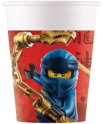 Procos 92240 - Pappbecher, Lego Ninjago, 200ml, 8 Stück, Becher, Trinkbecher, Geburtstag, Mottoparty