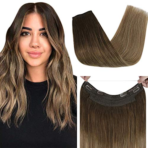 Sunny 14inch Remy Ombre Halo Human Hair Extensions Balayage Dark Brown Fading to Golden Brown Mixed with Blonde Wire Hair Extensions Human Hair Double Weft 80g