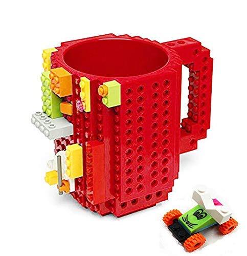 Build-On Brick Mug Taza de café DIY Bloques de construcción creativos,Juegos de construcción, diseño Taza, Compatible con Lego(Rojo)
