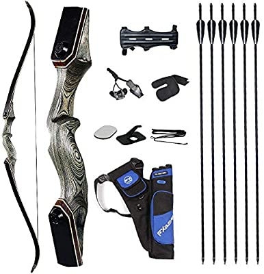 TOPARCHERY 60'' Archery Recurve Bow Takedown Bow Hunting Bow and Arrow Set Adult Target Practice Competition Survival Longbow Right Hand 30-50lbs with 6pcs Fiberglass Arrows