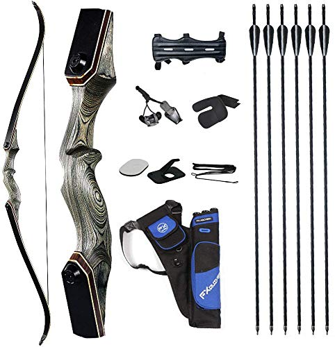 TOPARCHERY 60'' Archery Recurve Bow Takedown Bow Hunting Bow and Arrow Set Adult Target Practice Competition Survival Longbow Right Hand 30-50lbs with 6pcs Fiberglass Arrows (50)