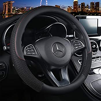 Cxtiy Universal Car Steering Wheel Cover Cool for Summer Warm for Winter Steering Wheel Cover Fit Most of Cars SUV Auto Vehicle  C-Black