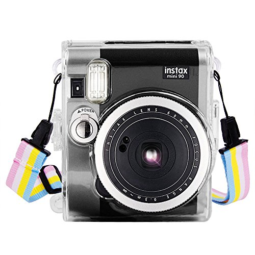 Wolven Clear Camera Case Shoulder Strap Compatible with Fugifilm Instax Mini 90 Instant Camera - Mini 90 Transparent