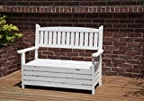 WestWood Outdoor Home 2 Seat Chair Garden Porch Bench With Storage Indoor Seater Wood Wooden Frame Patio Deck Park Yard Furniture WGB03 White