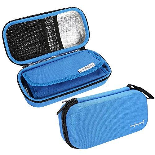 Insulin Kühltasche Insulin Stift Kasten Kühlungs Schutz Beutel Wasserdichter Beweglicher Beutel Kühler Reise diabetische Tasche, eingebaute Temperatur Anzeige, FDA Bescheinigung (Blau)
