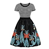 Yvelands Mujeres Vintage Cat Printing Sleeve Casual Evening Party Prom Swing Vestido(Negro,L)