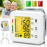 Topffy Blood Pressure Monitor, Automatic BP Machine Wrist Digital BP Cuff Large Tri-Backlit Pulse Rate Monitoring Rechargeable Meter 99*2 Reading