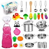 30pcs Kids Kitchen Pretend Play Toys Toy Kitchen Set with Stainless Steel Cooking Utensils Cookware Pots and Pans Set Healthy Vegetables, Knife, Little Chef for Toddlers & Children Boys Girls