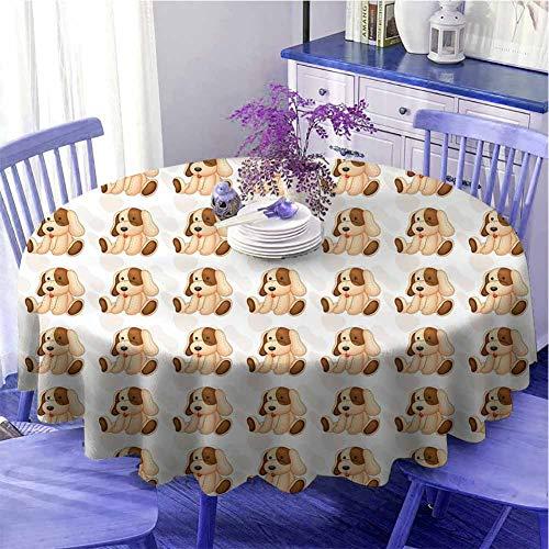 Mantel redondo para amantes de los perros, diseño de juguete de peluche para niños, compuesto digitalmente, posición sentada, suave al tacto, diámetro de 67 pulgadas, color beige y marrón