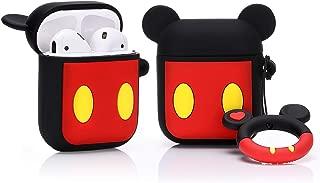 LEWOTE Airpodsケース エアポッド カバー 保護ケース 耐衝撃 紛失防止 AirPods第2世代と第1世代に適用防塵 漫画 リングロープ 滑り止め キーチェーン 可愛い 萌え萌え 人気 (Mickey)(1パック)