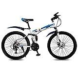 YZ-YUAN Bicicleta de montaña Plegable para Deportes al Aire Libre para Hombres y Mujeres, Adultos, Velocidad Variable, Doble Amortiguador, Estudiante Adulto, Bicicleta de Carretera portátil ultralig