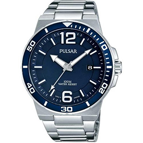 Pulsar Uhren Pulsar Men's 43mm Steel Bracelet & Case Quartz Blue Dial Analog Watch PS9399X1