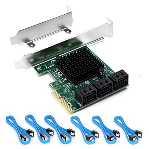 Ziyituod PCIe SATA Karte 6 Port, PCIe zu SATA-Controller-Erweiterungskarte, 6 Gbit/s SATA 3.0 PCIe-Karte mit 6 SATA-Kabeln, ASMedia 1062+1093 * 2 6-Port-Chip, Fahrer benötigt(ZYT-SA3006)