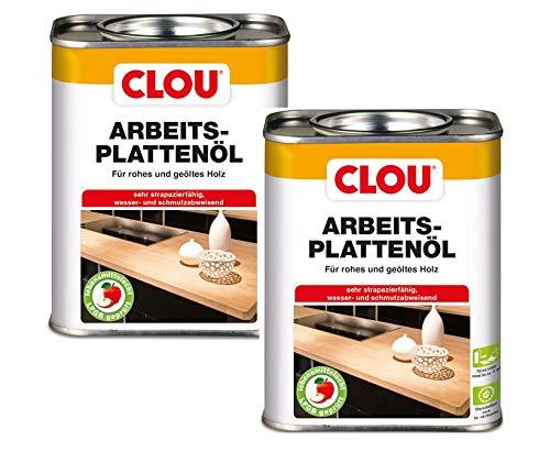 Clou Arbeitsplatten-Öl für rohes und geöltes Holz, wasserabweisende und abriebfeste Öl-Wachs-Kombination, 2x750ml