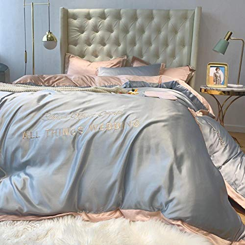 geek cook 4-Piece Bed Set,Summer silk bed four-piece ice silk silky Nordic style naked sleeping sheet quilt cover 4 three-piece set-silver gray_1.2m bed (quilt cover 150 * 200cm) 3pc set