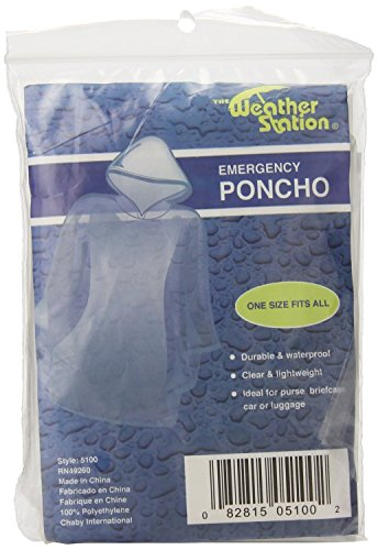 The Weather Station Waterproof Emergency Poncho with Hood, 6-Pack