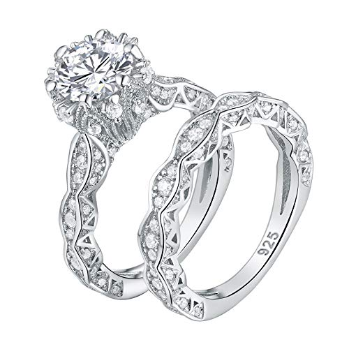 Wuziwen 4ct Cubic Zirconia Simulated Diamond Wedding Engagement Ring Sets Sterling Silver Size 6