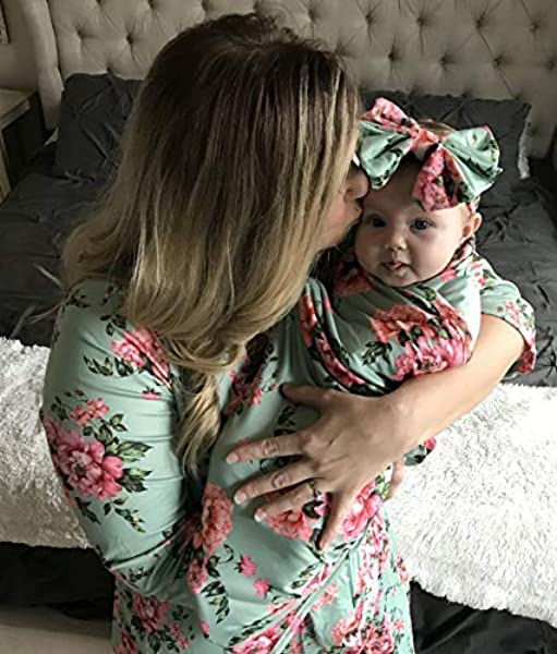 Mommy Robe With Matching Baby Swaddle Blanket And Bow Green Floral Small Medium