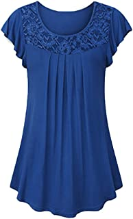 TWGONE Tunics for Women to Wear with Leggings Short Sleeve Ladies Solid Lace Patchwork Ruched Blouse Tops Shirt