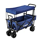 ENKEEO Utility Pull Wagon Collapsible Foldable Trolley Cart with Removable Canopy, Large Capacity and 4 Big...