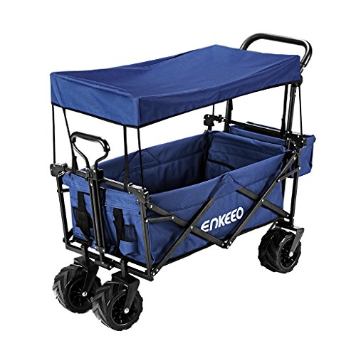 ENKEEO Foldable Utility Wagon Collapsible Sports Outdoor Cart with Removable Canopy, Large Capacity and Tilting Handle for Camping Beach Sporting Events Concerts Shopping (Burgundy)