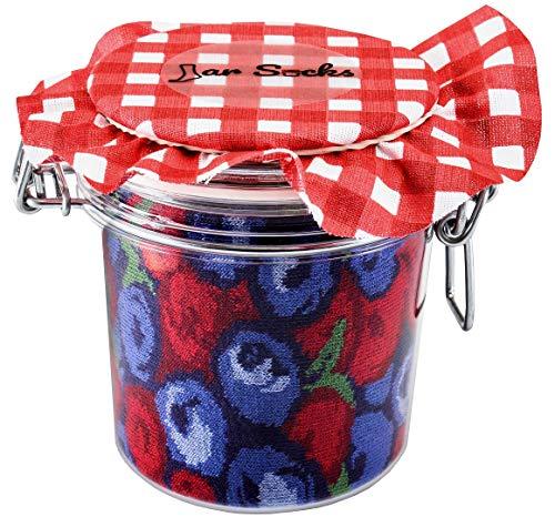 Rainbow Socks - JAR SOCKS Blueberries and Pears Funny Gift! - Unisex - 2 Pairs - size US 5.5-9