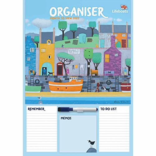 Otter House RNLI Family Organiser A3 Wall Calendar 2022 – Month to View Yearly Planner – With Whiteboard and Pen