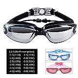 Hersvin Gafas de Natación de Miopía (0 a -8.0) Anti-UV Antivaho con Puente Nasal Extraíble, Tapones para Los Oídos Siameses para Adultos Hombres Mujeres Niños (Negro, -6.0)