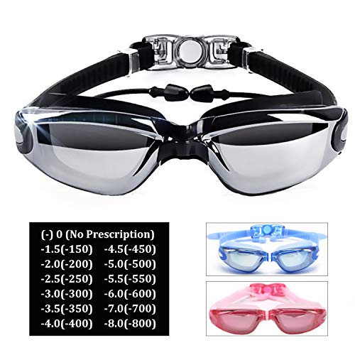 Hersvin Kurzsichtig Schwimmbrillen (0 bis -800) Kurzsichtigkeit UV400 Anti-UV Anti Nebel Sehstärke Schutzbrille mit Abnehmbare Nasenbrücke für Erwachsene Männer Frauen Kinder (Schwarz, -1.5)