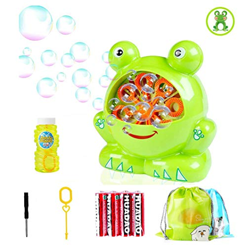 Morkka Bubble Machine Ventilatore Automatico a Bolle duraturo per Bambini Forma di Rana Facile da Usare 500 Bolle al Minuto per Natale Feste Matrimoni All aperto o al Coperto Uso 4 AA batterie (Frog)