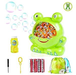 Morkka Portátil Máquina de Burbujas, Soplador de Pompas de Jabón Duradero, Divertida Forma de Frog Shape para Niños y Adultos Fácil de Usar para Navidad Fiestas Barbacoa Boda (Frog)