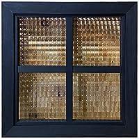 フィックス窓 ブラックステイン 格子ガラス 40×3.5×40cm 両面十字桟入り 室内窓 北欧 木製 ひのき オーダーメイド ハンドメイド