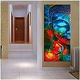 Resumen Budismo Carteles e impresiones Arte de la pared Pintura de la lona Decoración de la pared Colorido Señor Buda Imágenes para la sala de estar Pared / 60x120cm-Sin marco