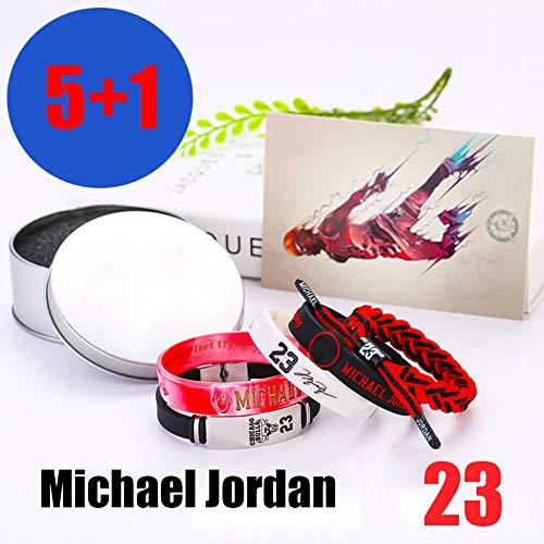 ZZH NBA Chicago Bulls Bracciali in Silicone Motivazionale Set, Michael Jordan, Braccialetto Sportivo Unisex,A1