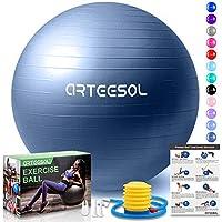 arteesol Balón de Ejercicio Anti-explosión, 45cm/55cm/65cm/75cm/85cm Fitness Yoga Ball Estabilizador de balón de Equilibrio Resistente con Bomba rápida para Core Force (Azul Oscuro, 65cm)